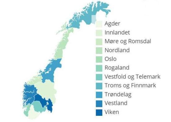 Kart med fylker LiveStat